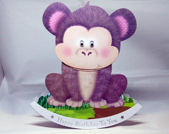 Monkey/Chimp 3D Wobbler Male/Female/Kids/Children's Birthday Card - luxury quality UK - Mum/Grandma/Daughter/Aunt/Niece/Sister/Wife