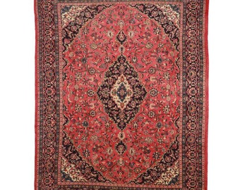 Hand Knotted Persian Mashad Rug - 9′8″ × 12′10″ Red, Beige #7250