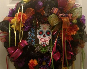 Day Of The Dead Wreath, Front Door Decor, Day Of The Dead Decor, Sugar Skull Wreath