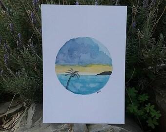 Tropical landscape -Print A4, Beach, Palm tree, Sunset, Watercolour Art, Circle Tropical Art