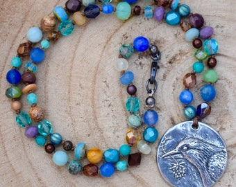 Boho Beaded Bird Necklace
