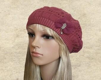 Knit beret women, Light weight beret, Womens trendy beret, Fall autumn beret , Knitted beret hat, Women's beret knit, Womens hat trendy