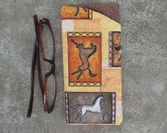 Eyeglass Case/ Eyeglass Holder/Fabric Eyeglass Case/ Brown Yellow Orange Horses
