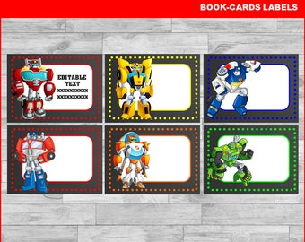 Rescue Bots Printable Cards, tags, book labels, stickers, kids cards, gift tags, labeling, scrapbooking EDITABLE INSTANT DOWNLOAD