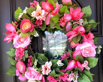 Summer Wreath spring Wreath Summer floral wreath summer wreath for front door spring floral wreath Mother's Day Wreath