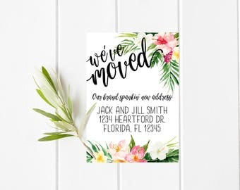 We've Moved Floral Announcement Card, 5 x 7 Floral Moving Announcement Card