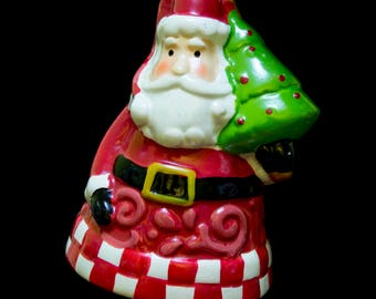 Santa Ornament Holding Tree with Legs as Bell Clapper