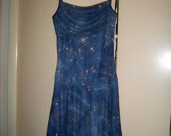 Vintage 70's, 80's Blue, Glittery, Disco Dress Size M