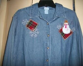 Women's Vintage Ugly, Cute Christmas Denim Shirt size 1X