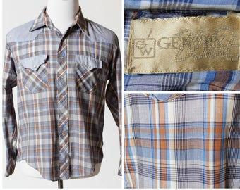 Vintage Men's Western Shirt Cowboy Plaid Snap Yolk - Retro 70's Medium M Gentry