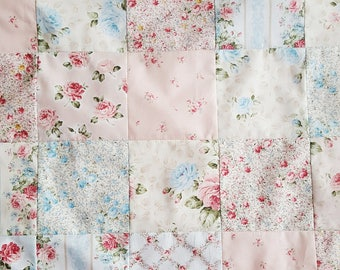 Handmade Floral Patchwork Baby Blanket, Summer Quilt, Lightweight Blanket, Newborn Gift