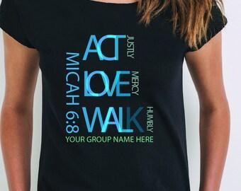 T-shirt femme personnalisé Act Love Walk