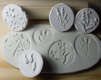 4 Flower Pottery Texture Clay Stamps Set # A-49