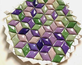 Origami Tessellation in green and purple, wall decor, modern, abstract, mimilistic