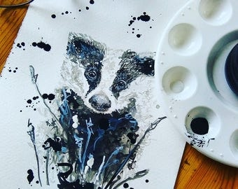 Blue Badger Original Signed Piece