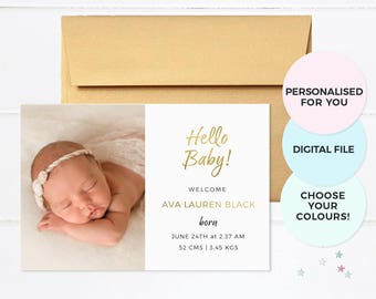 Girl birth announcement card, Baby announcement, Boy birth announcement, Printable birth announcement, Photo announcement, Baby milestones