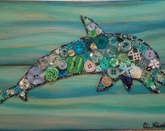 DOLPHIN Button Art with FREE Shipping