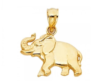 14K Solid Yellow Gold Elephant Pendant - Good Luck Lucky Necklace Charm