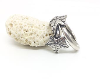 Sterling silver leaf ring, leaf ring, one of a kind ring, fully hallmarked, silver leaf, handmade ring, ivy leaf ring, ivy leaf, silver ivy