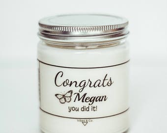Congrats Gift, Personalized Candle, 8 oz Scented Candle, New Job Promotion Gift, Congrats on a New Job, Graduation Gift, You Did It Gift