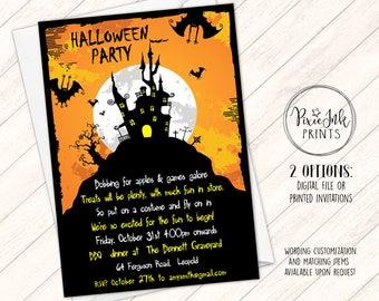 Halloween Party Invitation, Halloween Birthday Party Invitation, Haunted House Invite, Orange Halloween Invite, Costume Party Invitation
