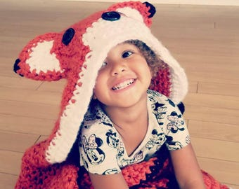 MADE TO ORDER :Hooded fox blanket, kids crochet blanket