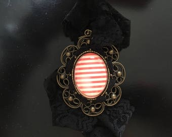 Vintage red and white stripes and lace necklace