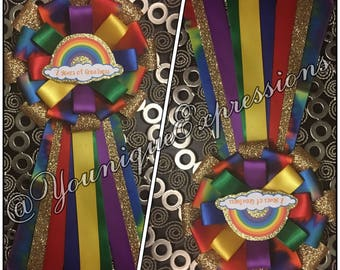 Taste the Rainbow themed pin/corsage