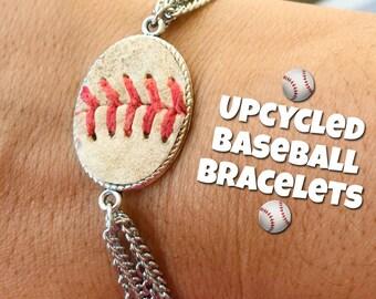 Upcycled Baseball Bracelet, Baseball, Sports, World Series, Softball, Chain Bracelet, Silver Bracelet, Baseball Mom