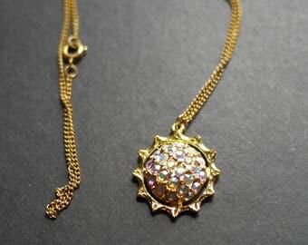 Aurora borealis rhinestone vintage pendant on chain