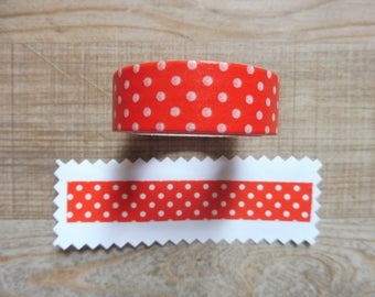 Washi tape 1.5 cm 10 m red with white polka dots