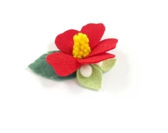 Hibiscus Hair Clip - Felt Flower Headband - Hawaiian Headband - Hawaiian Hair Clip - Felt Hibiscus