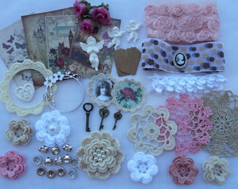 kit for scrapbooking and sewing/crochet lace trim/crochet doilies/crochet flowers