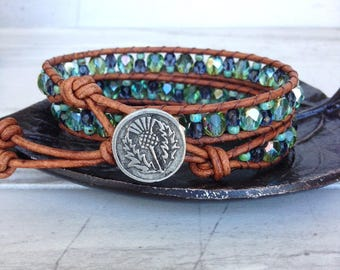 Sparkly Green Blue Beaded Leather Wrap Bracelet, Shabby Chic Jewelry, Boho Beaded Bracelet, Shabby Chic Bracelet Boho Chic Jewelry