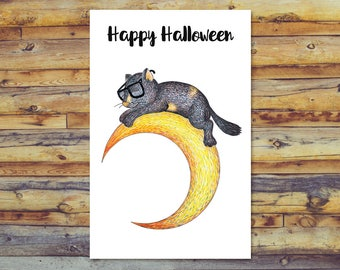 Halloween Cat Printable Card, Tortoiseshell Cat Halloween Card, Blank Card, Digital Download, Happy Halloween, Cute Tortoise Shell Cat