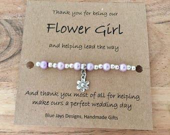 Flower Girl Gift, Thank You Gift, Delicate Bracelet, Flower Girl Gift, Wedding Party Gift, Pearl Bracelet, Bridesmaid Gift, Wedding Favours