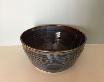 Blue and Brown Handmade Oval Bowl