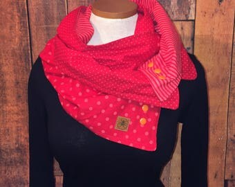 woman, girl, man, scarf, gift, scarf, red, orange