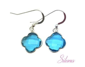 Earrings dangling clover 925 sterling silver and blue quartz