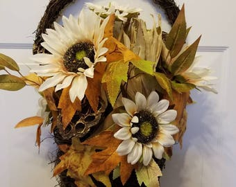 Fall wreath/front door wreath/door wreath/housewarming wreath/ autumn wreath F-05 -06
