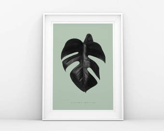 Monstera Leaf Print - Black and Green - Botanical Wall Art - Monstera Plant Print - Monstera Printable Poster - Scandinavian & Nordic Art