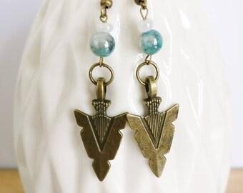 Earrings Aztec, yoga earrings