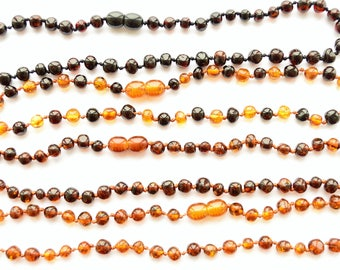 100% Baltic Amber baby Teething Necklace Knotted polished baroque style beads Girl , boy Gift, Smooth beads, Choose size and Color Jewelry