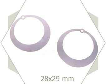 8 silver hoop charms BA134