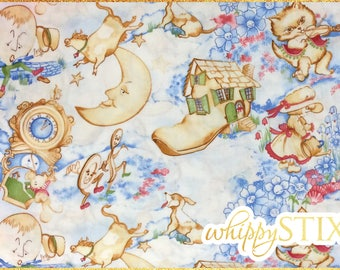 Nursery Rhymes Fabric By the Yard, Westrade Collection K6144A, BTY Blue Nursery Rhyme Cotton Quilting Fabric, Mother Goose Childrens Stories