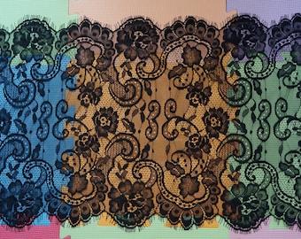 1.5 meter * 40cm Black - Lace fringe CHANTILLY - lace LACE BLACK Ref. 2303