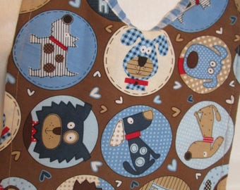 Puppy! Puppies! Dogs! Doggies! Blue. Brown. Tan. Blue Gingham Backing or Blue Gingham with hearts. Baby Shower Gift for Boy or Girl.Handmade