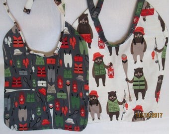 Fishing Bears Baby Bibs! Reversible to Fishing Items! Photo Prop! 100% Cotton. Baby Shower Gift. Top-stitched.
