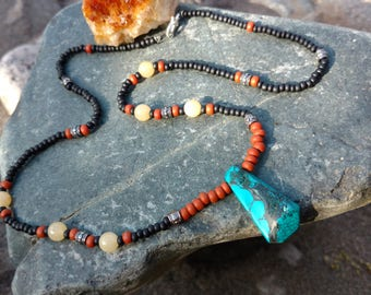 Turquoise, Citrine beaded Necklace