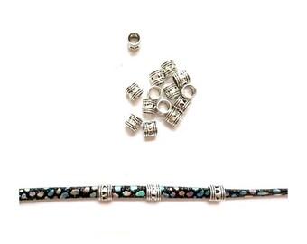 50 big hole beads European Style column heart silver Antique 7mm